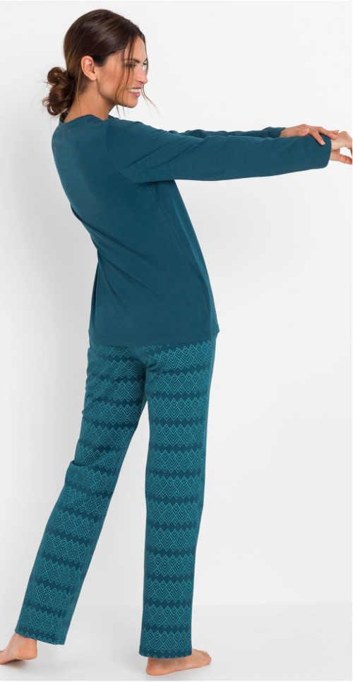 Petrolejově modré dámské zimní pyžamo