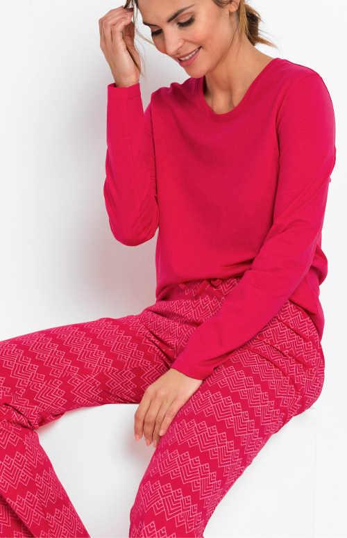 Růžové teplé bavlněné dámské pyžamo