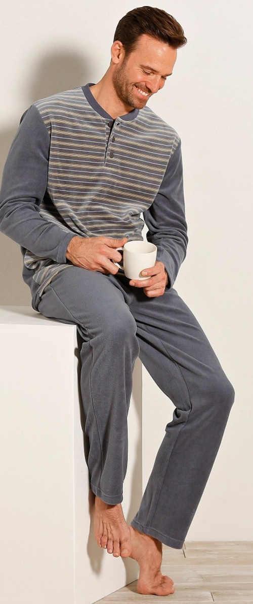 Šedé dlouhé velurové pánské pyžamo