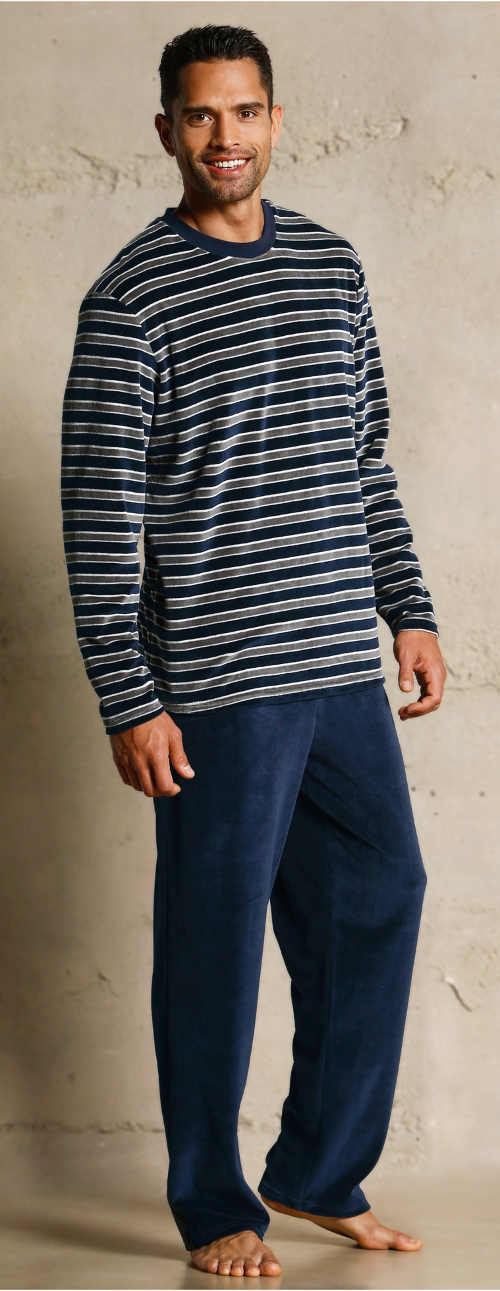 Teplé pánské dlouhé pyžamo s proužky