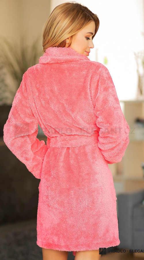 Teplý růžový dámský župan s šálovým límcem