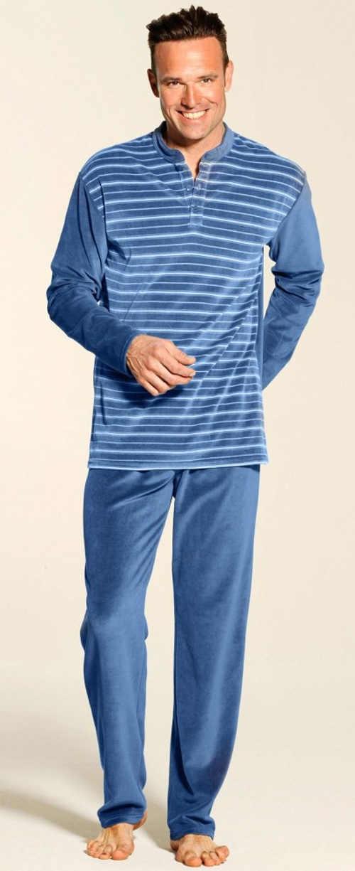 Velurové pánské pruhované pyžamo