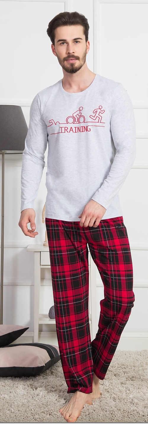 Dlouhé pánské pyžamo s červenými karovanými kalhotami