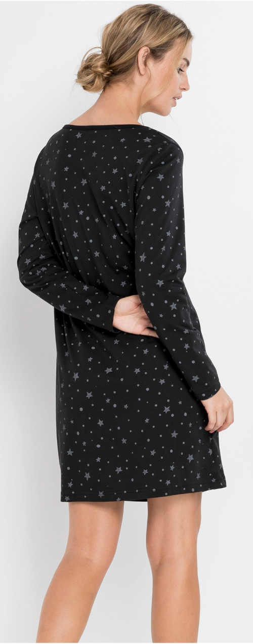 Černá bavlněná dámská noční košile s dlouhým rukávem