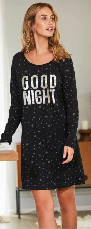 Černá dámská noční košile s hvězdičkami a nápisem good night