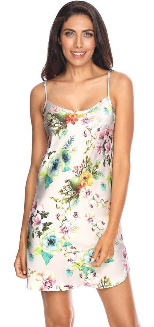 Luxusní hedvábná saténová košilka s květinovým potiskem