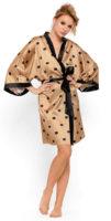 Luxusní saténový kimono župan s puntíky