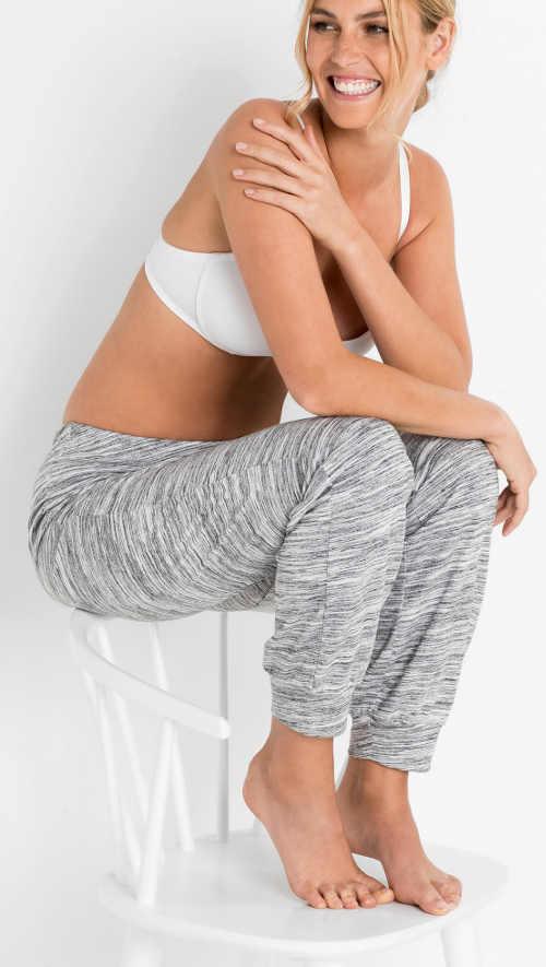 Šedé melírované dámské pyžamové kalhoty Bonprix