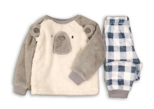 Teplé dětské fleecové pyžamo medvídek s károvanými kalhotami