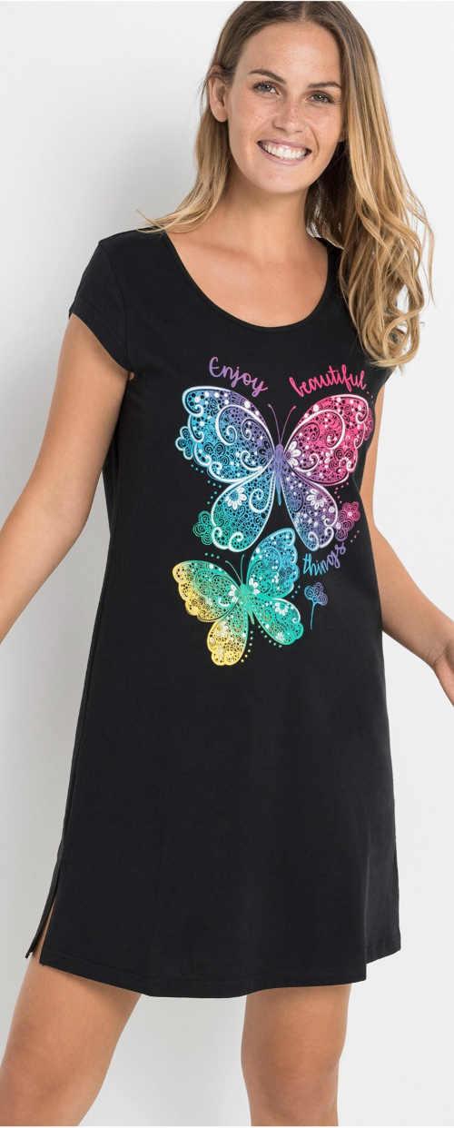 Černá dámská noční košilka s potiskem barevných motýlků
