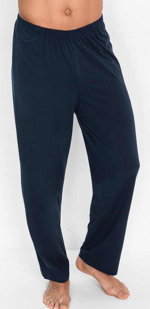 Dlouhé pánské pyžamové kalhoty tmavě modré barvy