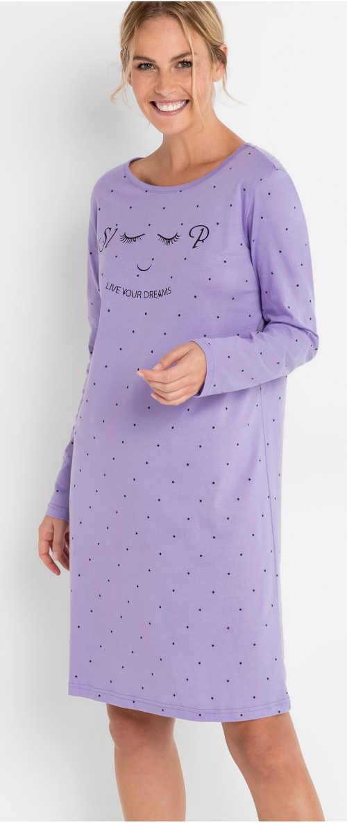 Fialová dámská noční košile s dlouhými rukávy