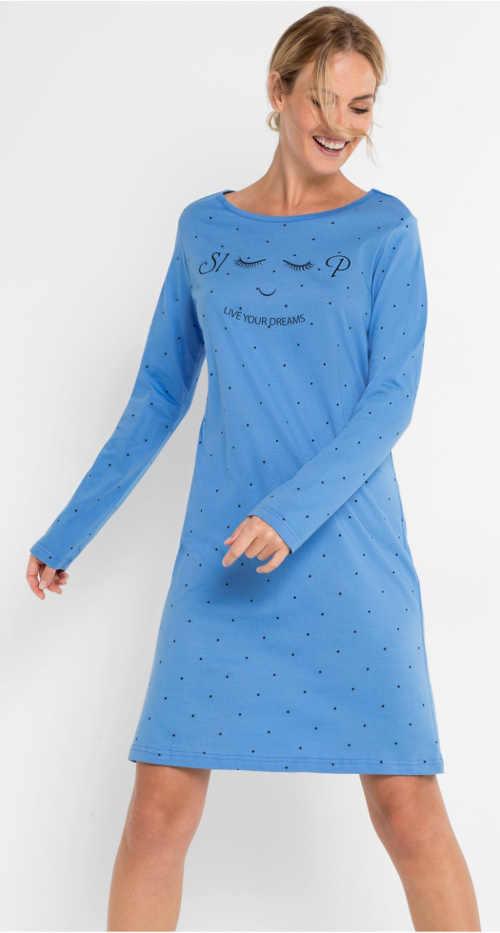 Modrá dámská noční košile z bavlny