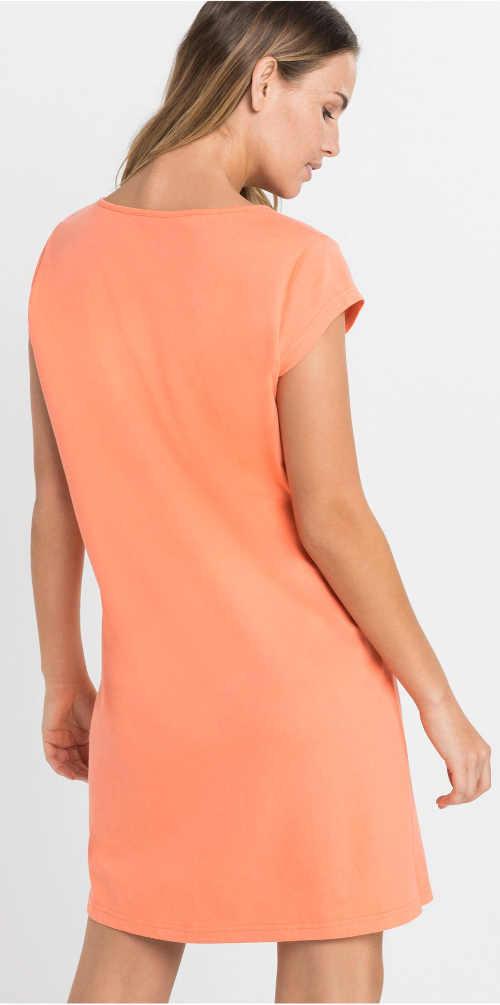 Oranžová bavlněná dámská noční košilka