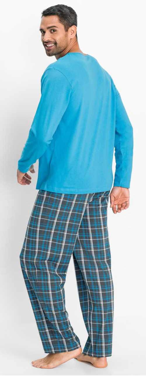 Světle modré pánské pyžamo s dlouhými kalhotami