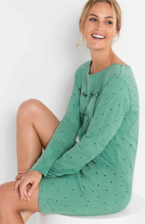 Zelená dámská noční košile