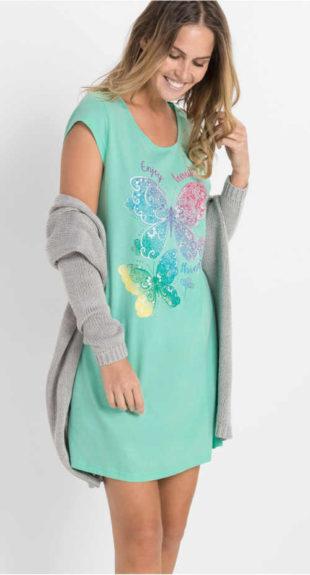 Dámská noční košile s barevným potiskem motýlů