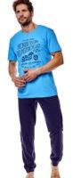 Modré pánské pyžamo s motorkou
