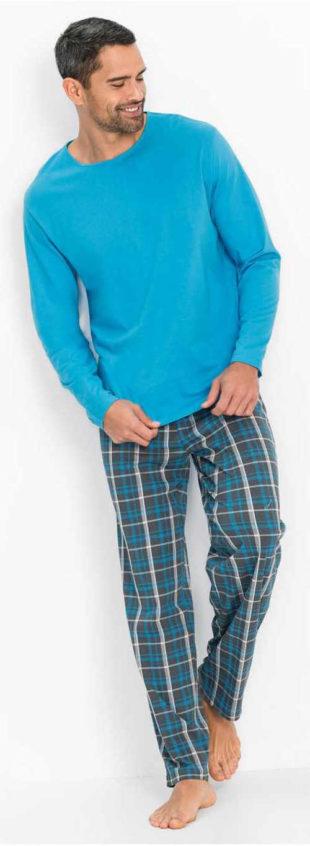 Modré pánské pyžamo s průvlekem na gumu