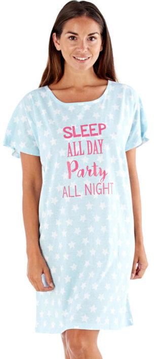 Pohodlná noční košile s kulatým výstřihem