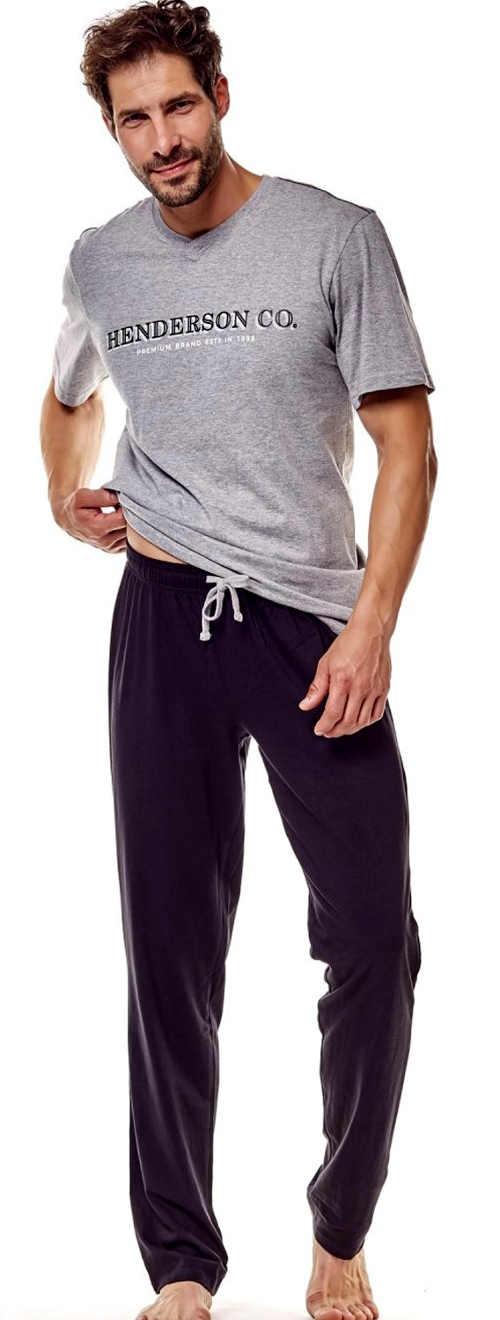 Stylové pánské pyžamo s krátkým rukávem a dlouhými kalhotami
