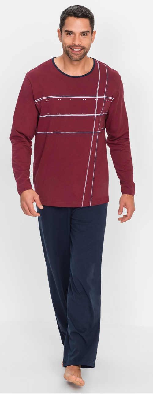 Vínovo-modré dlouhé pánské pyžamo