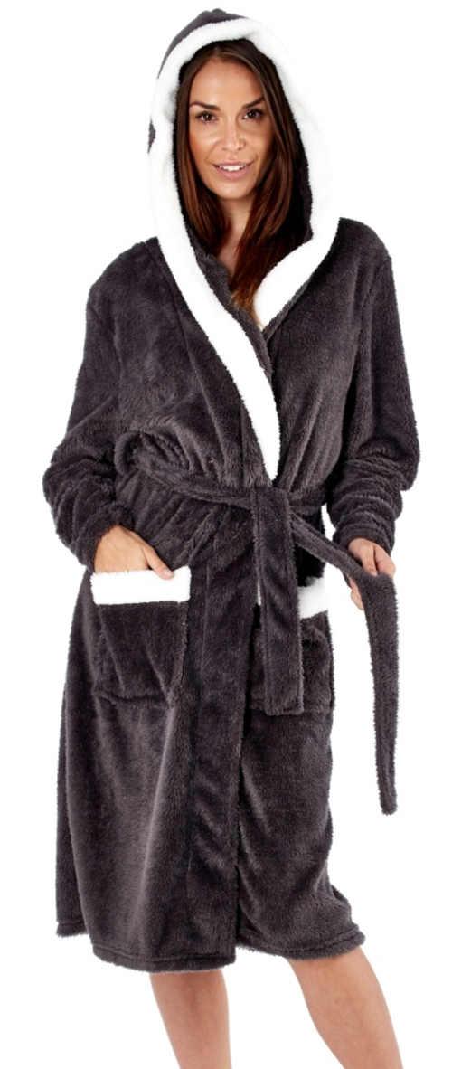 Černý dámský župan s kapucí a bílými lemy