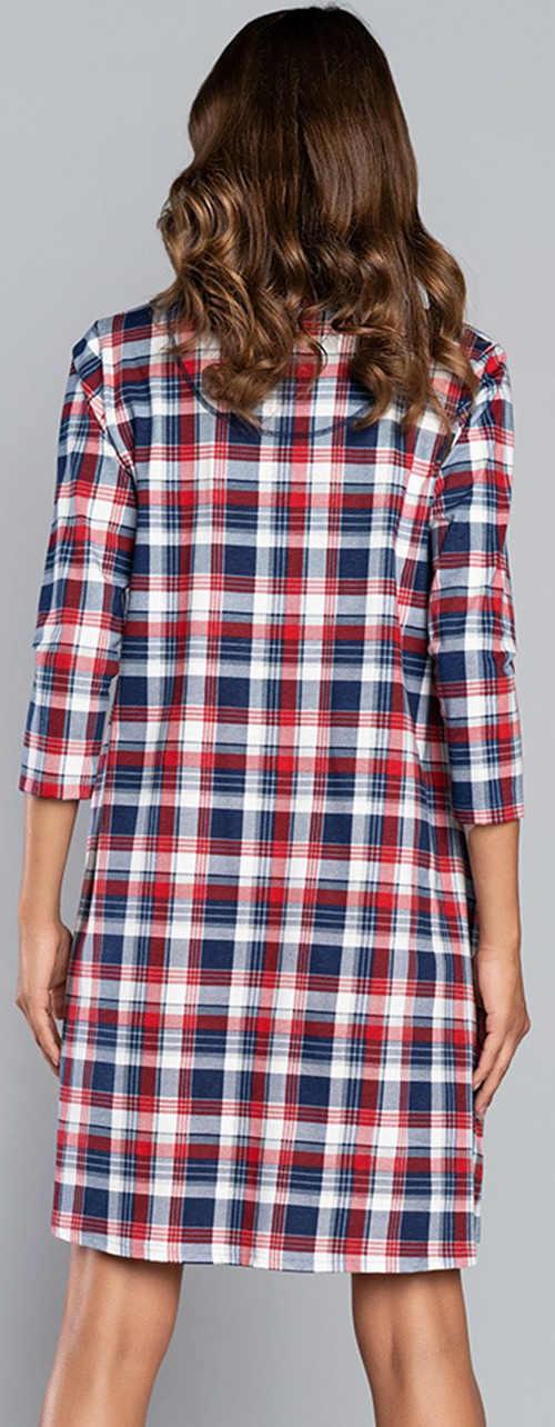 Károvaná bavlněná dámská košilka s tříčtvrtečním rukávem