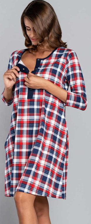 Kostkovaná noční košile s výstřihem na patentky