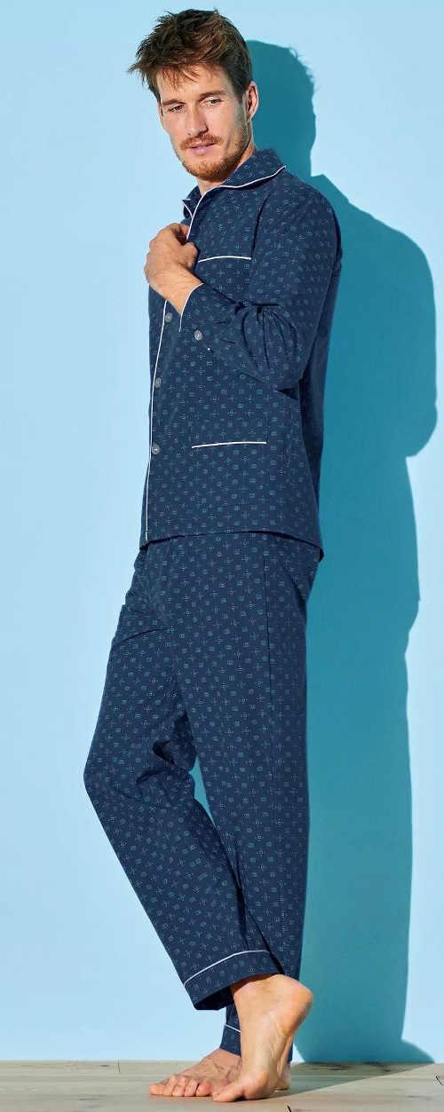 Elegantní propínací pánské pyžamo tmavě modré barvy