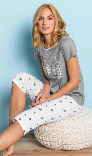 Letní dámské capri pyžamo ve velikostech pro plnoštíhlé