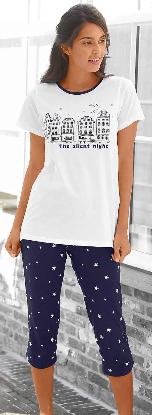 Modro bílé letní dámské pyžamo s potiskem