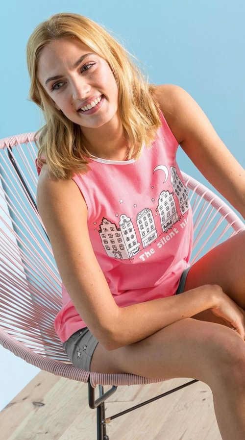 Růžové letní dámské kraťáskové pyžamo
