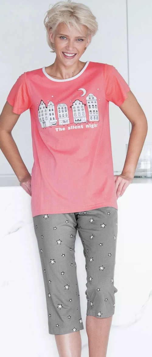 Růžovo-šedé dámské letní pyžamo s tříčtvrtečními kalhotami