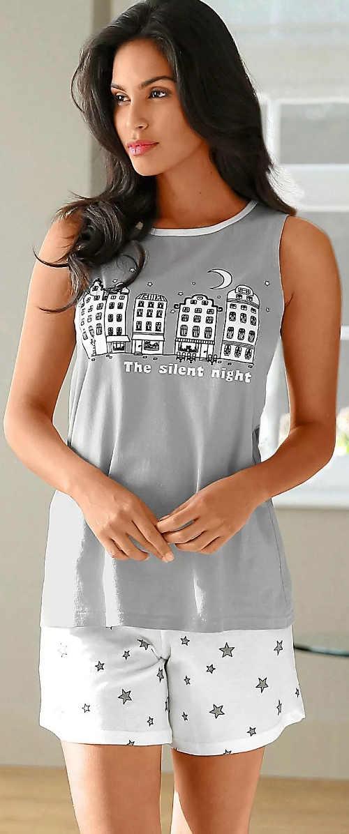 Šedo-bílé dámské letní pyžamo s šortkami