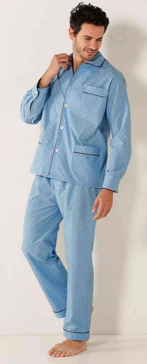 Světle modré pánské kabátkové pyžamo
