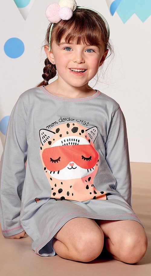 Dívčí noční košile se spící kočičkou