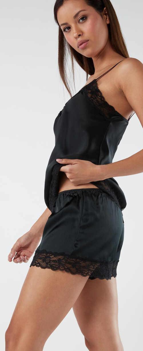 Krátké černé dámské pyžamo z luxusního hedvábí