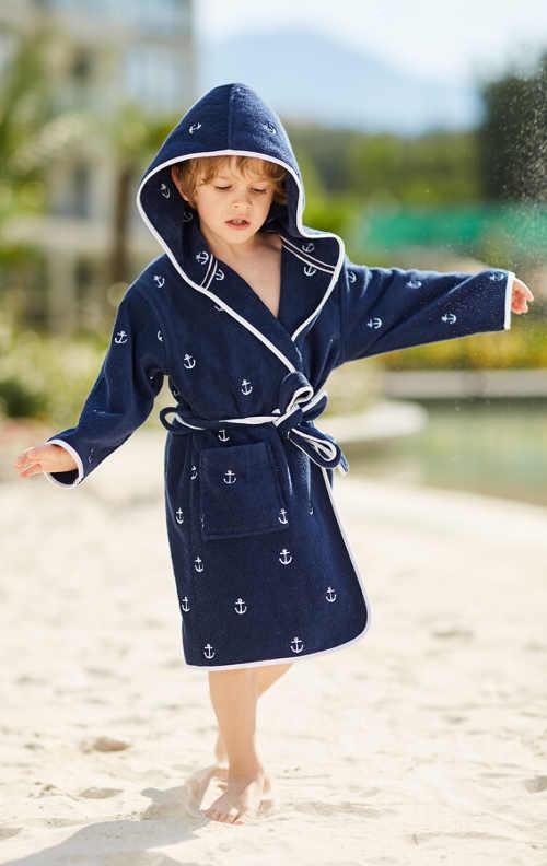 Dětský modrý klučičí župan MARINE BOY s kapucí