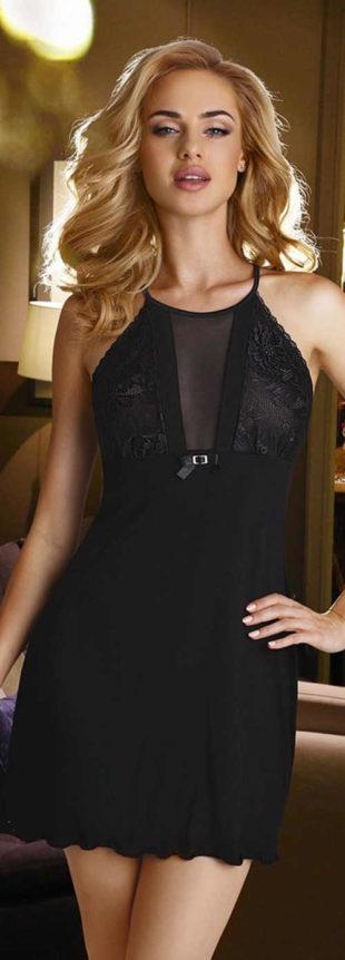 Elegantní lehká černá noční košilka Eldar Emi Black