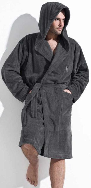 Pánský župan z hebkého mikroplyše v tmavě šedé grafitové barvě