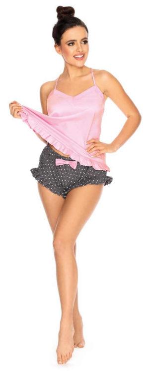 Saténové šedo-růžové kraťáskové dámské pyžamo
