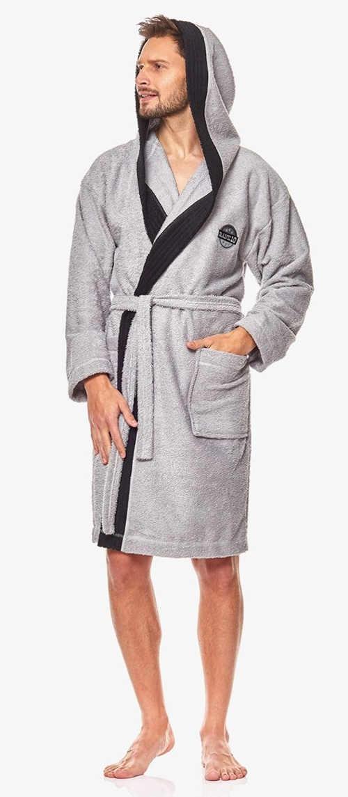 Šedý pánský kimono župan s velkou kapucí