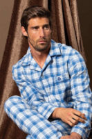 Bavlněné pánské pyžamo s dlouhým rukávem vpředu na knoflíky