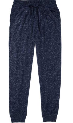 Dámské pyžamové kalhoty v pase na stažení v provedení modrý melír