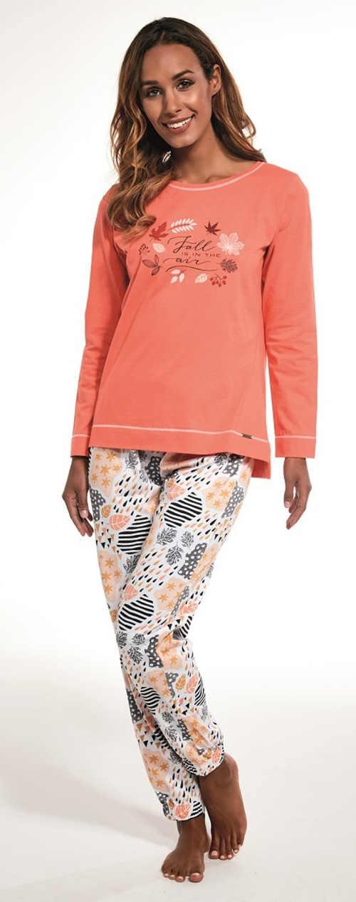 Moderní dámské pyžamo s dlouhým rukávem s potiskem