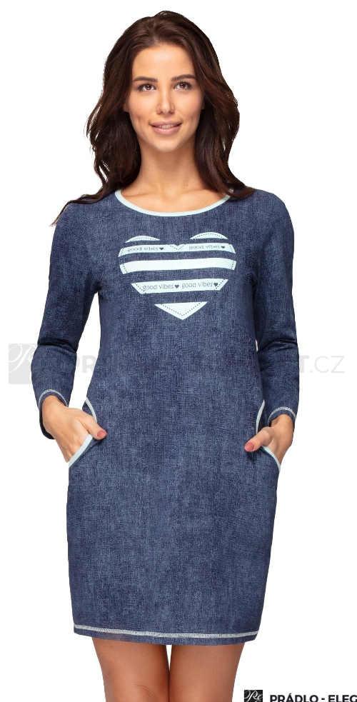 Modrá krátká noční košile s kapsami a vpředu s potiskem
