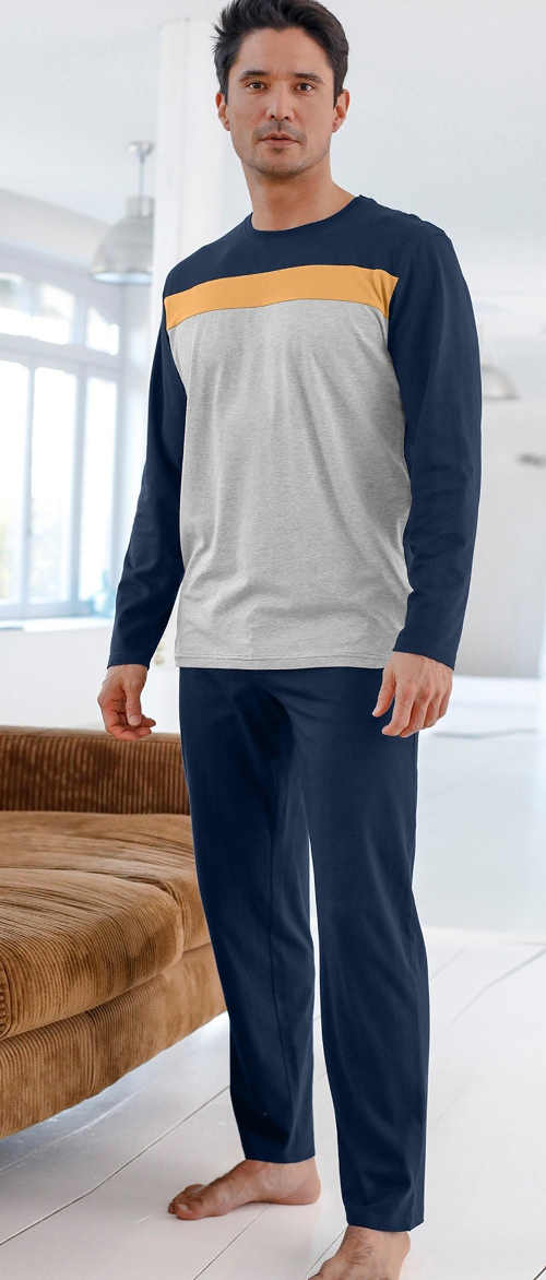 Pánské pyžamové kalhoty v moderní barvě námořnická modrá