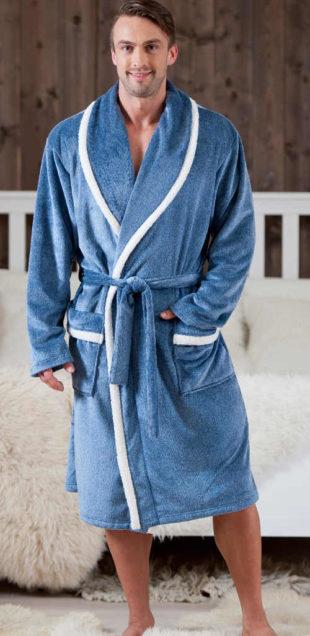 Pánský župan modrý s bílými detaily v délce ke kolenům