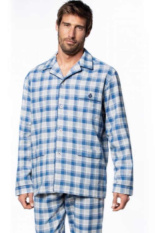 kostkované pánské pyžamo dlouhý rukáv